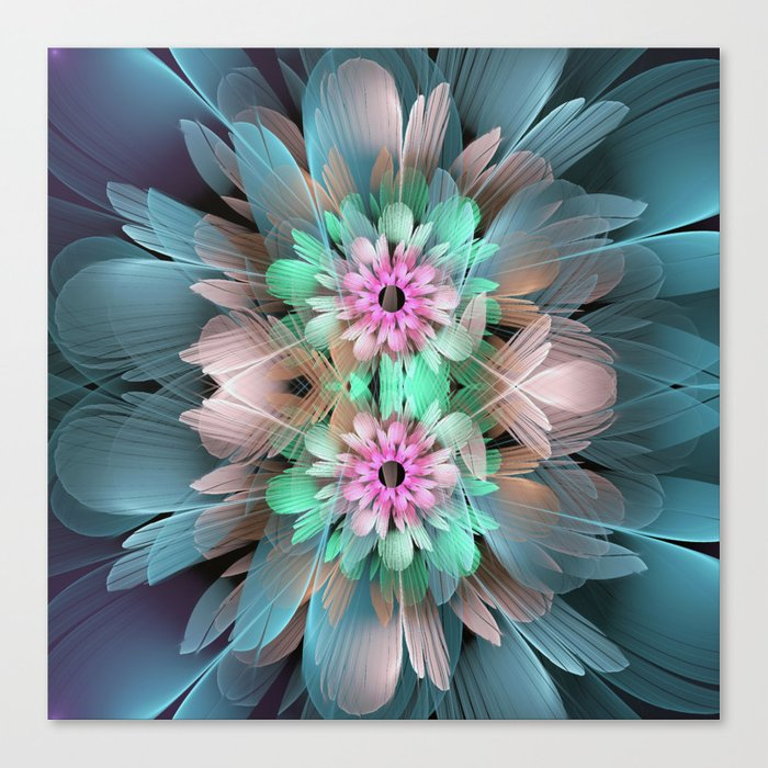 Soft coloured Twin Flowers Canvas Print