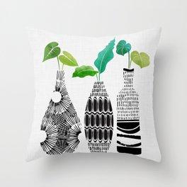 Black and White Tribal Vases Throw Pillow