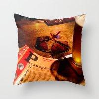 propaganda Throw Pillows featuring Propaganda Brewski by J VanBlarcum