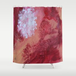White Flower On Red Shower Curtain