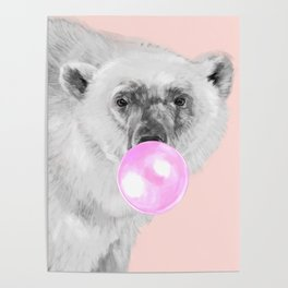 Bubble Gum Polar Bear Poster