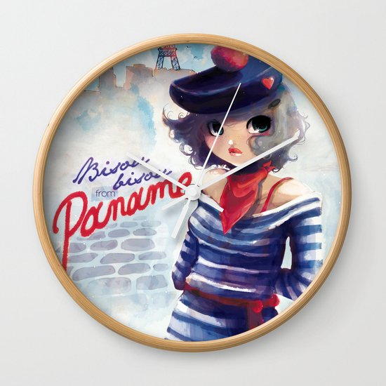 Bisou bisou from Paname Wall Clock