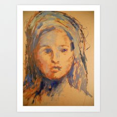 Woman Drawn In Oil Paint Art Print