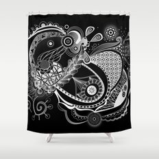 Spring tangle, black Shower Curtain