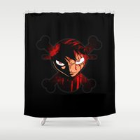 luffy Shower Curtains featuring BLOODY LUFFY by feimyconcepts05