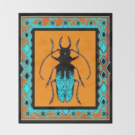 Black Turquoise Stag horn Beetle Western Art Abstract Throw Blanket