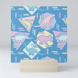 Nineties Dinosaurs Pattern  - Pastel version Mini Art Print