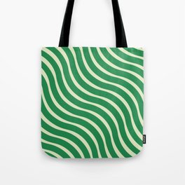 Abstract Waves illusion Pattern - Jungle Green Tote Bag