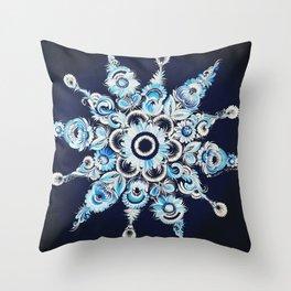 Snowflake in Petrykivka style Throw Pillow