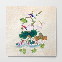 Minhwa: Lotus and Mallards (Korean traditional/folk art) Metal Print