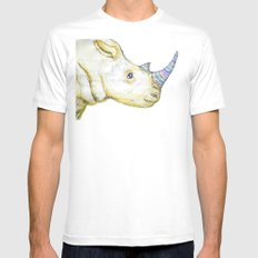 Striped Rhino Illustration MEDIUM White Mens Fitted Tee