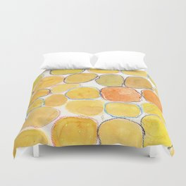 Cheerful orange Gathering Duvet Cover