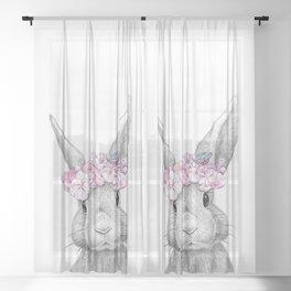 Spring bunny Sheer Curtain