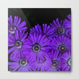 Purple succulent flowers watercolor effect Metal Print