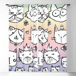 Cat doodles Blackout Curtain