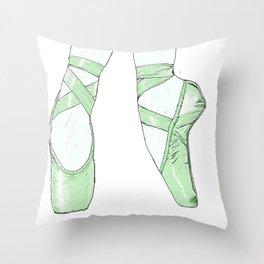 Ballet Pumps: Green Throw Pillow