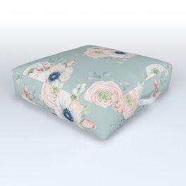 Dog Rose Pattern Mint Outdoor Floor Cushion