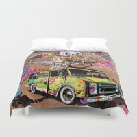 oakland Duvet Covers featuring Pusher Carcophagus by Beery Method