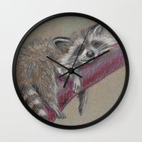 racoon Wall Clocks featuring Racoon sleeping by Pendientera