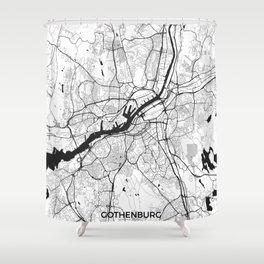 Gothenburg Map Gray Shower Curtain