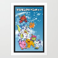 digimon Art Prints featuring Digimon Adventure Partners by Jelecy