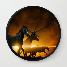 Wild Black Horses Wall Clock