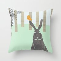 rabbit Throw Pillows featuring Rabbit by Dream Of Forest