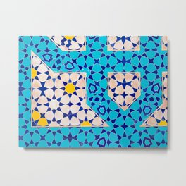 Colorful mosaic tiles in the desert city of Isfahan, Iran   Travel photography Middle East Metal Print
