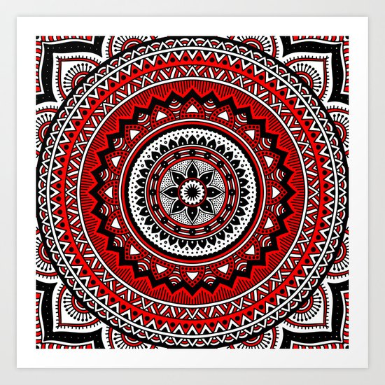 Red and Black Mandala Art Print