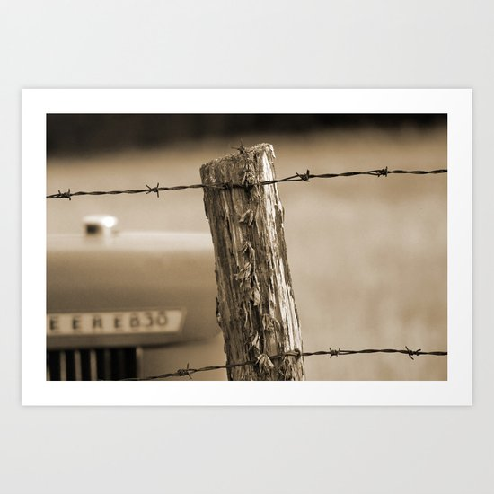 Fence Post and Tractor Art Print