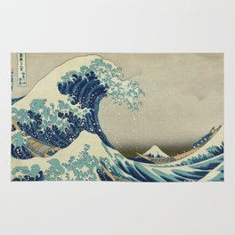 Great Wave off kanagawa. Japanese vintage fine art. Rug