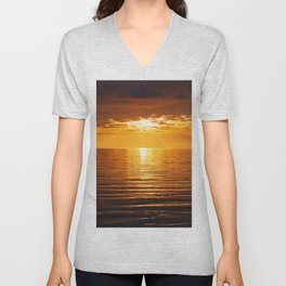 Golden Fire Tangerine Tropical Sunset Across Infinity Unisex V-Neck
