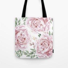 Coaral Watercolor Roses Tote Bag