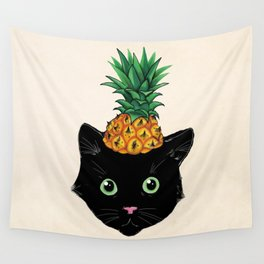 Pineapple Kitty Wall Tapestry
