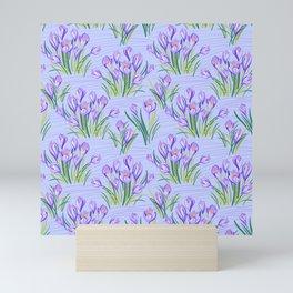 Spring Floral Pattern with Crocuses Mini Art Print