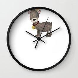 Reindeer With Bell Watercolor Reindeer Wall Clock