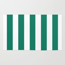 Deep green-cyan turquoise - solid color - white vertical lines pattern Rug