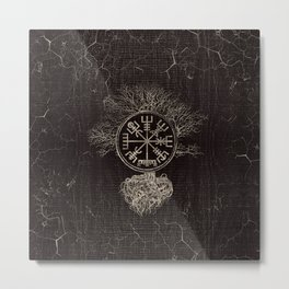 Vegvisir  and Tree of life  -Yggdrasil Metal Print