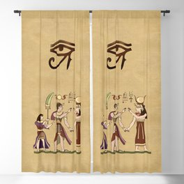 Calling to the Gods Egyptian Folk Art Blackout Curtain