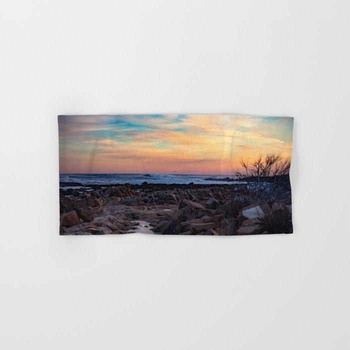 Winter Sunset at Bassrocks Hand & Bath Towel