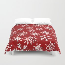 Snowflakes Pattern (Red) Duvet Cover