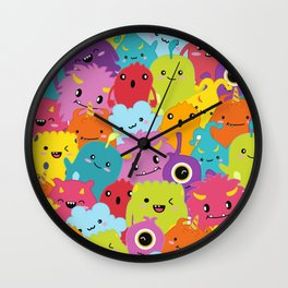 Lovely Monster Pattern Wall Clock