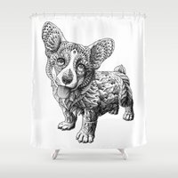 corgi Shower Curtains featuring Corgi Puppy by BIOWORKZ