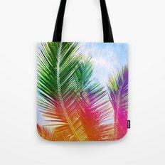 Neon Rainbow palm Tote Bag