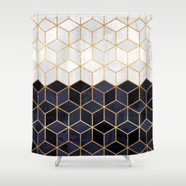 grey and navy shower curtain. White  Navy Cubes Shower Curtain Abstract Curtains Society6