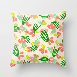 Henri's Garden in peach // tropical flora pattern Throw Pillow