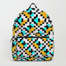 Geometric Inverse Turquoise & Yellow Backpack