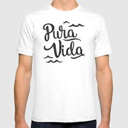 Pura Vida Costa Rica Waves in Black T-shirt