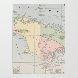 Vintage Map of New Guinea (1901) Poster