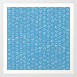 Shibori kanoko white dots over light blue Art Print